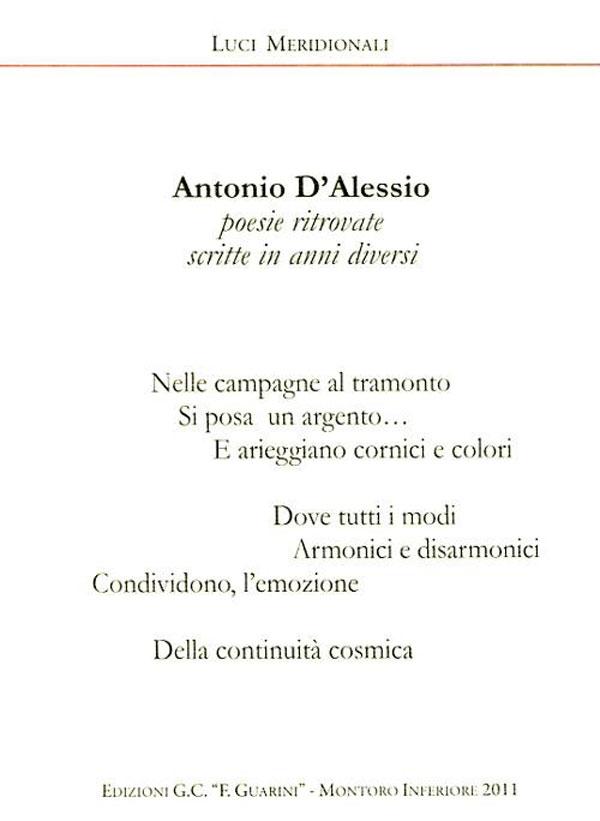Antonio, Poesie ritrovate scritte in anni diversi