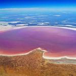 Laghi rosa splendido fenomeno naturale
